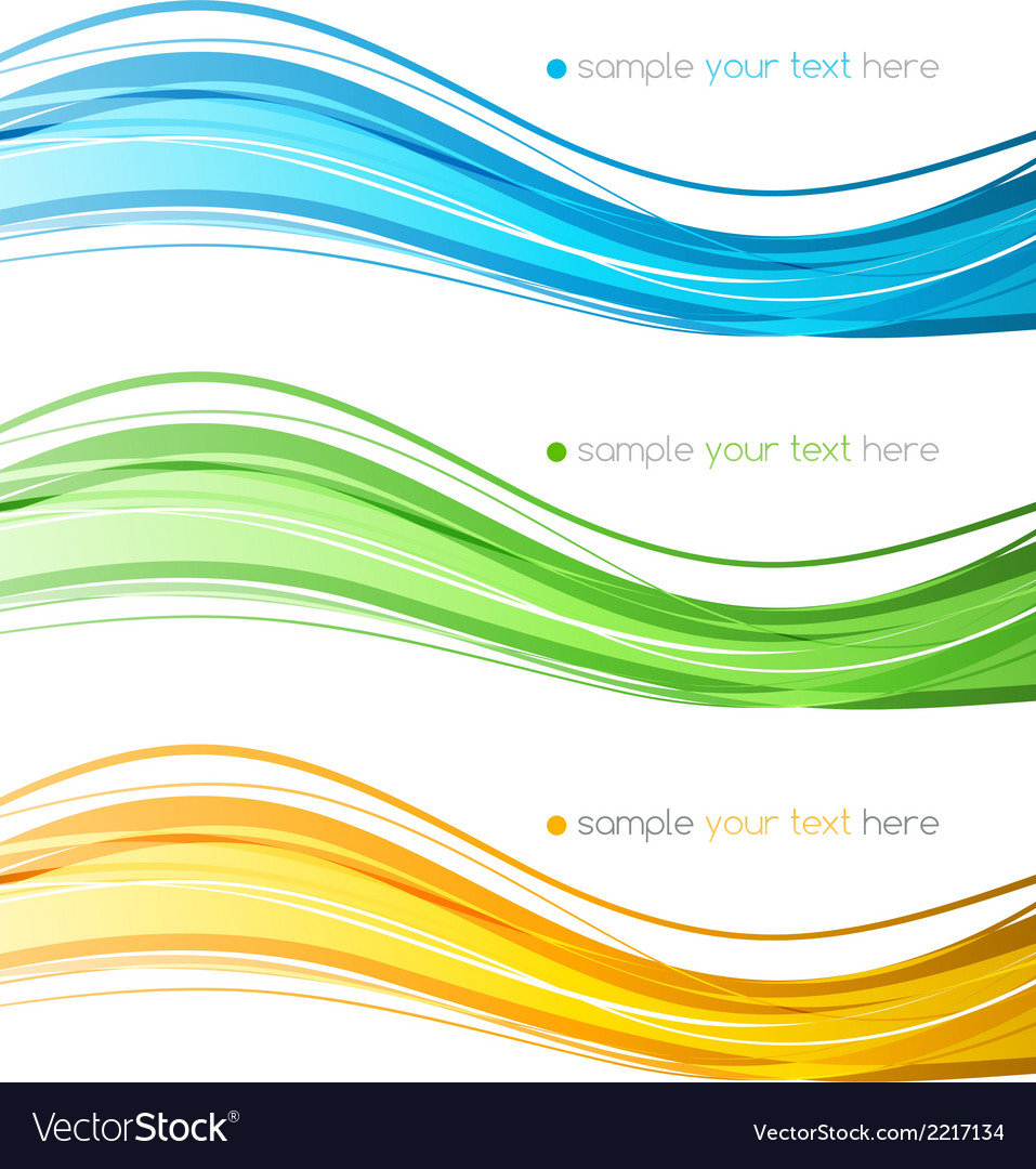 Set of color curve lines design element vector