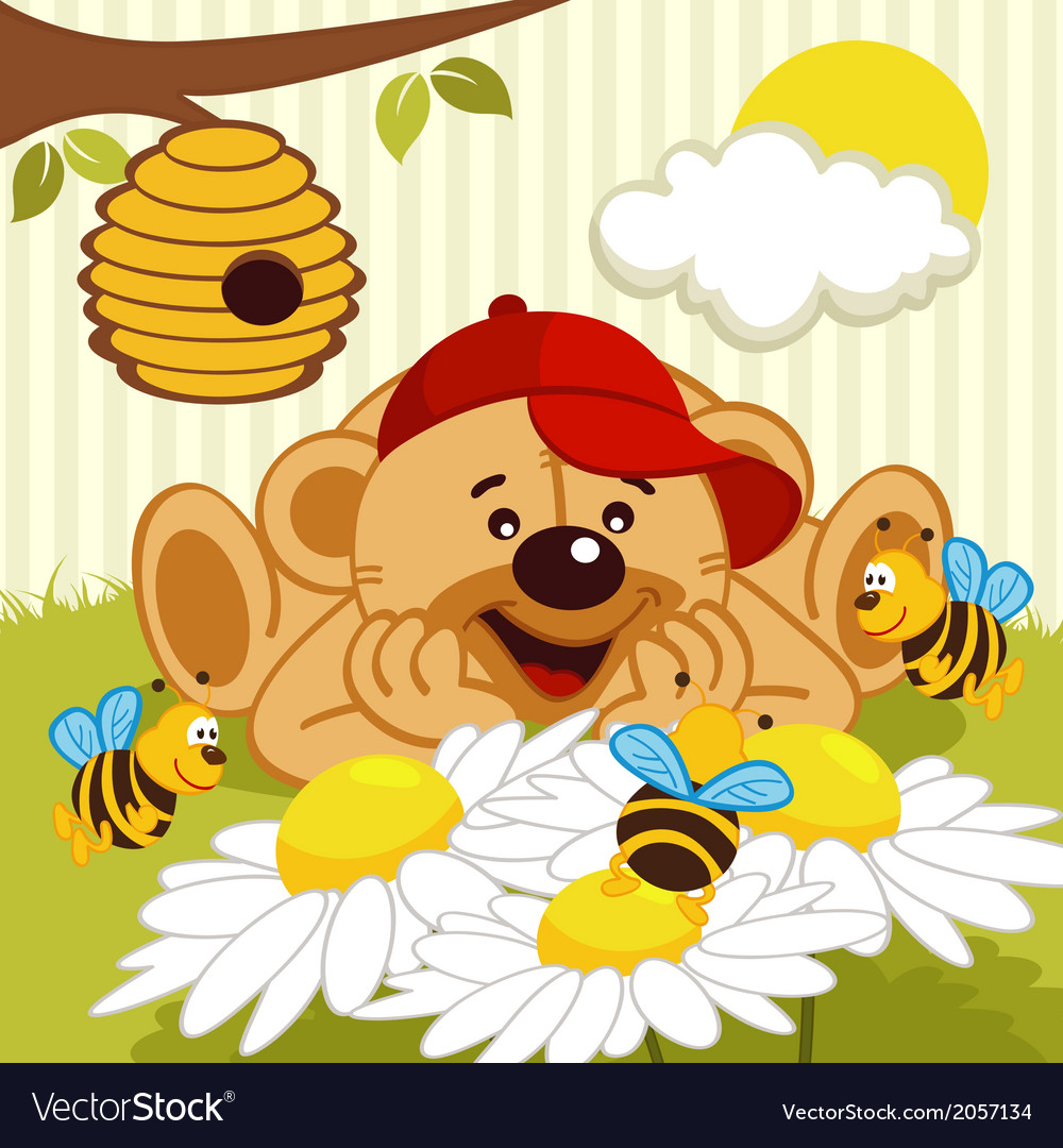 Teddy bear watching bees on daisy vector