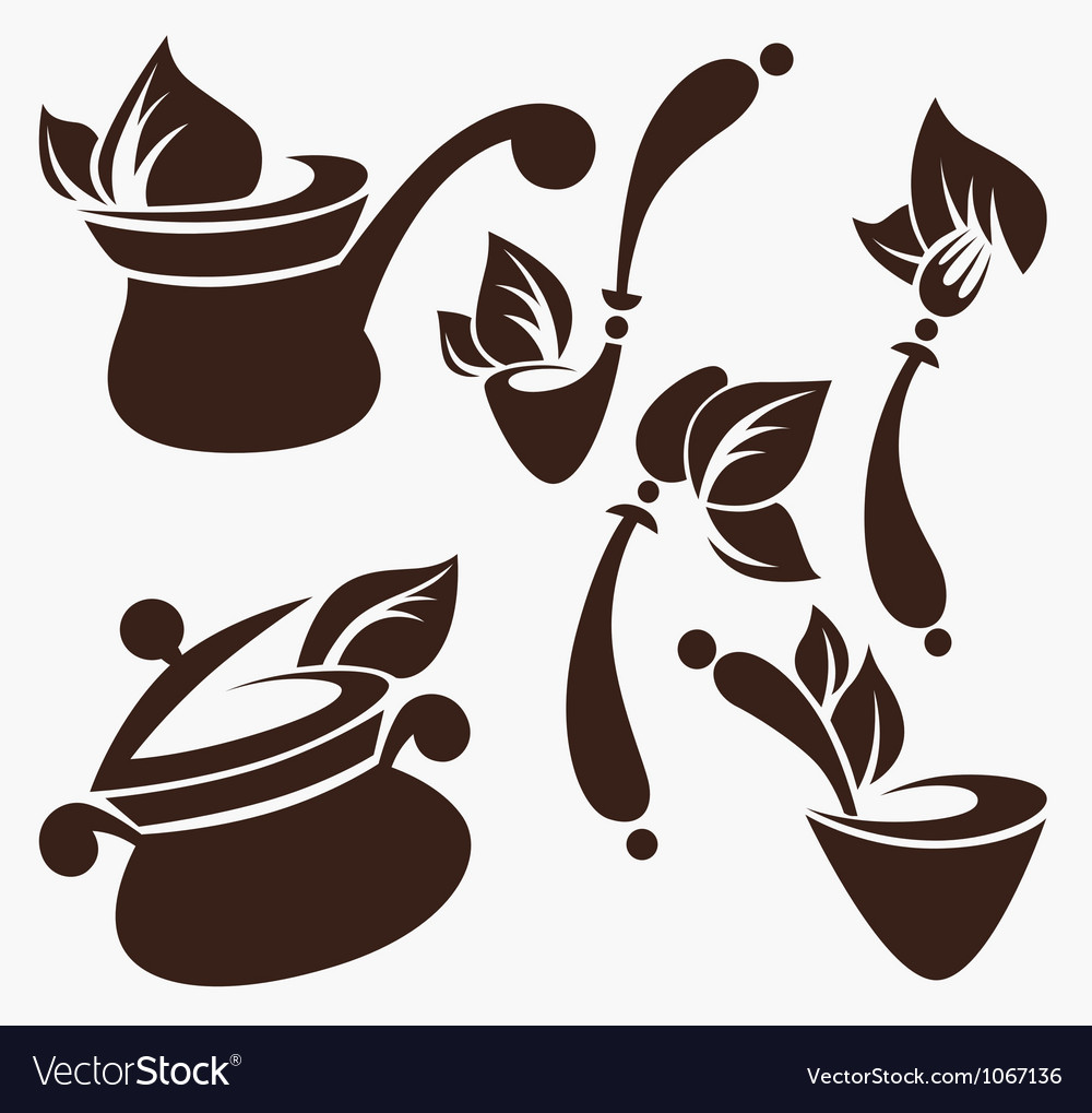 Cooking equipment and vegetarian food vector