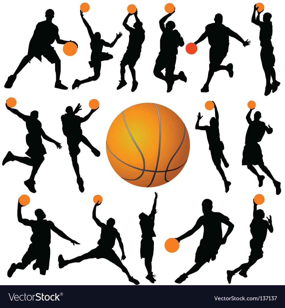 Basketball player and ball vector