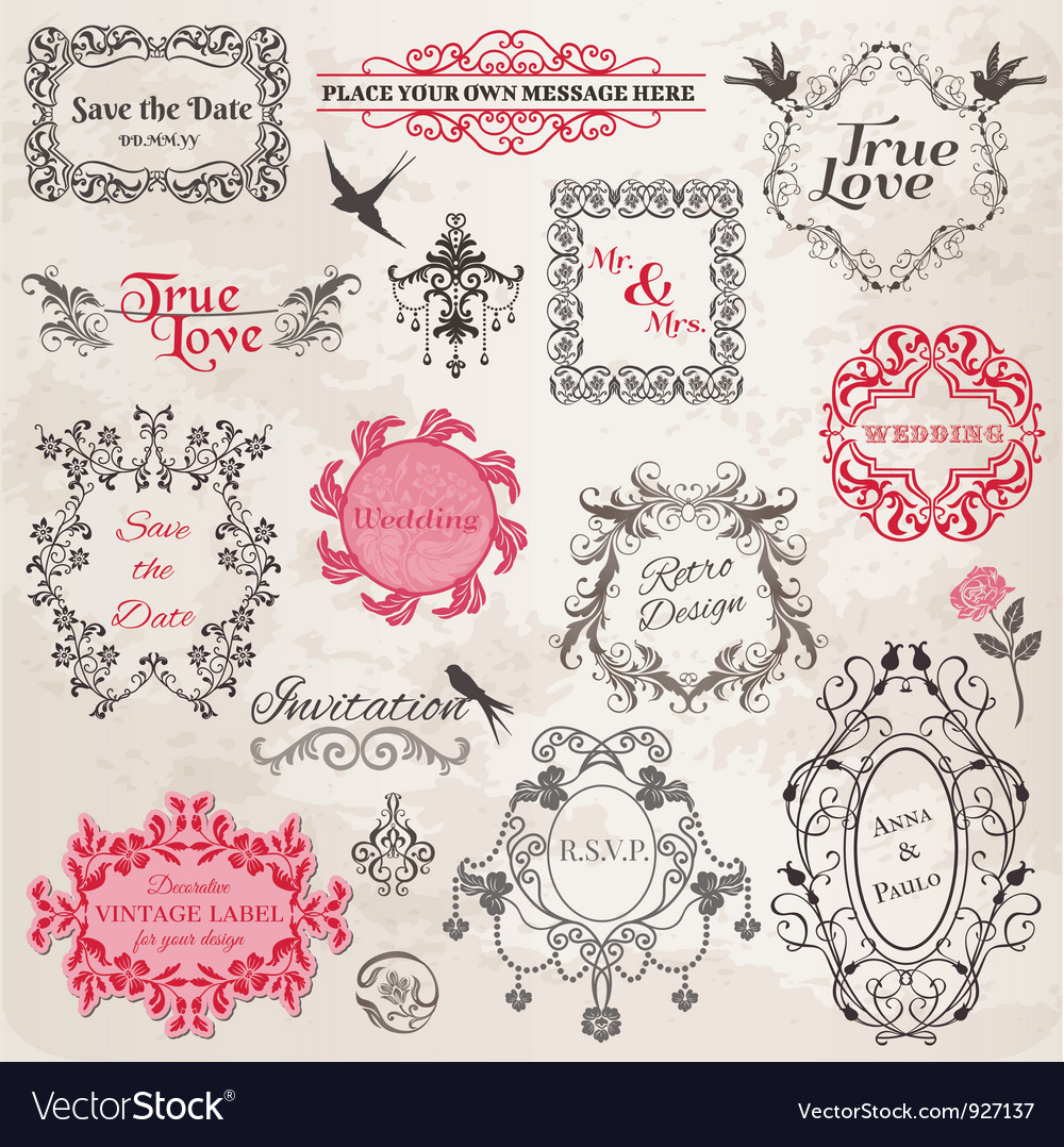 Wedding vintage frames and design elements vector