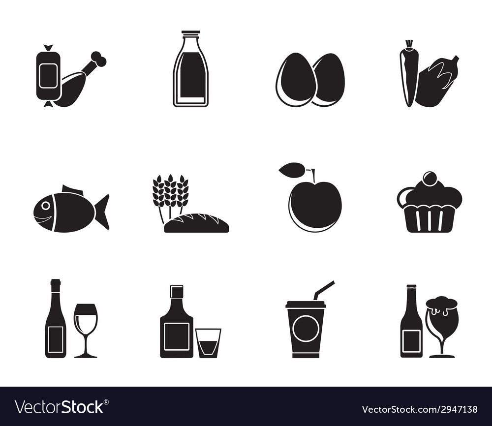 Silhouette food and drink icons vector