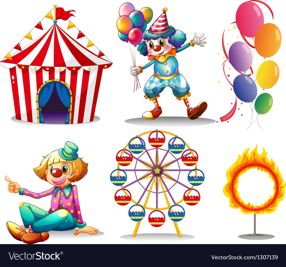 A circus tent clowns ferris wheel balloons and a vector
