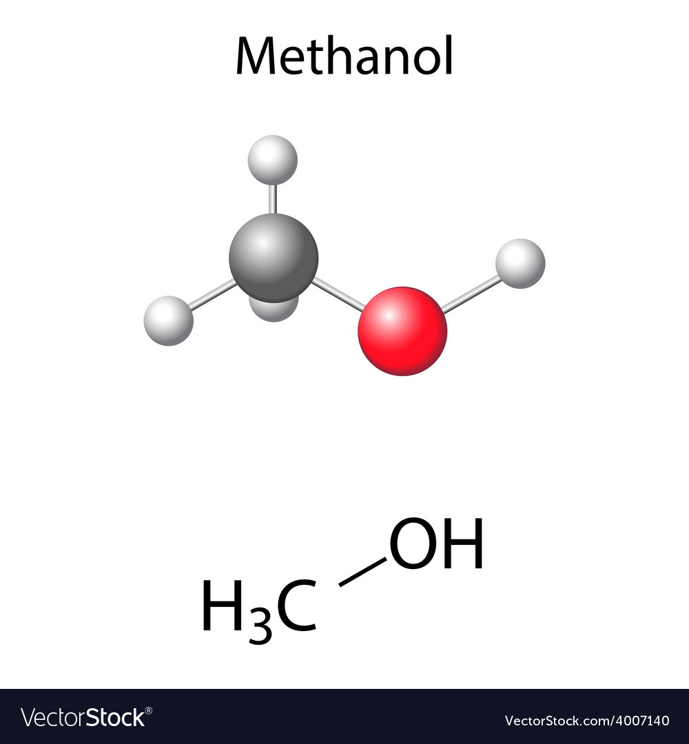 Structural chemical formula and model of methanol vector