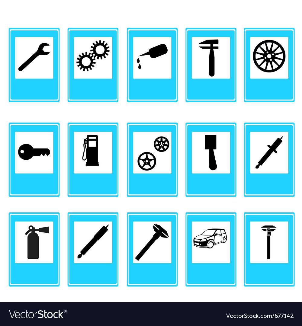 Auto car repair service icons vector