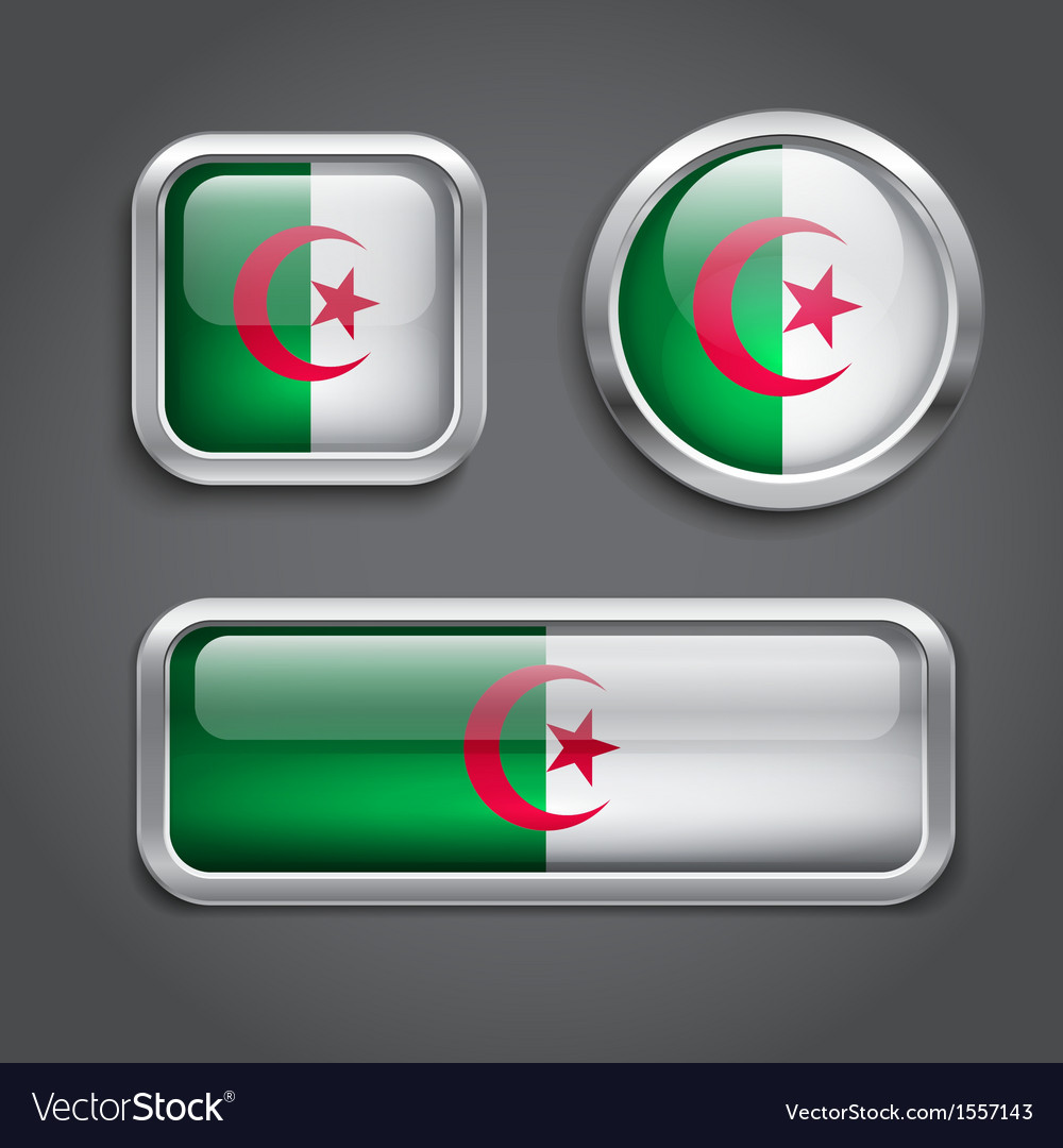 Algeria flag buttons vector