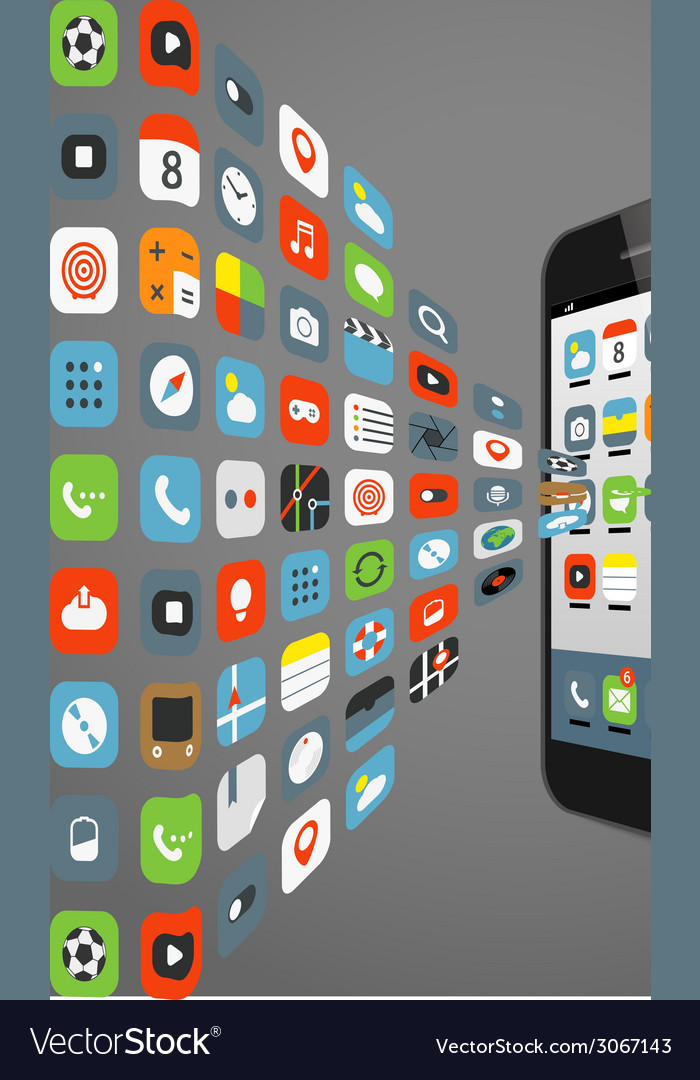 Different color icons flows to modern smartphone vector