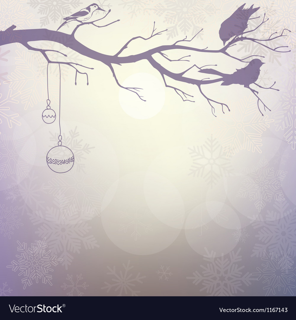 Light winter background with silhouette of branch vector