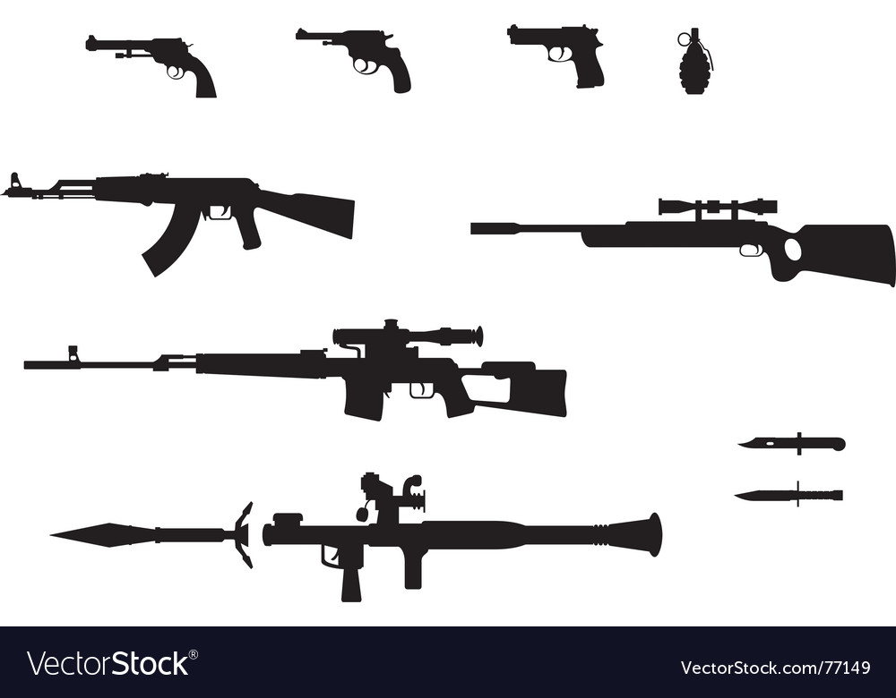 Gun silhouettes set vector