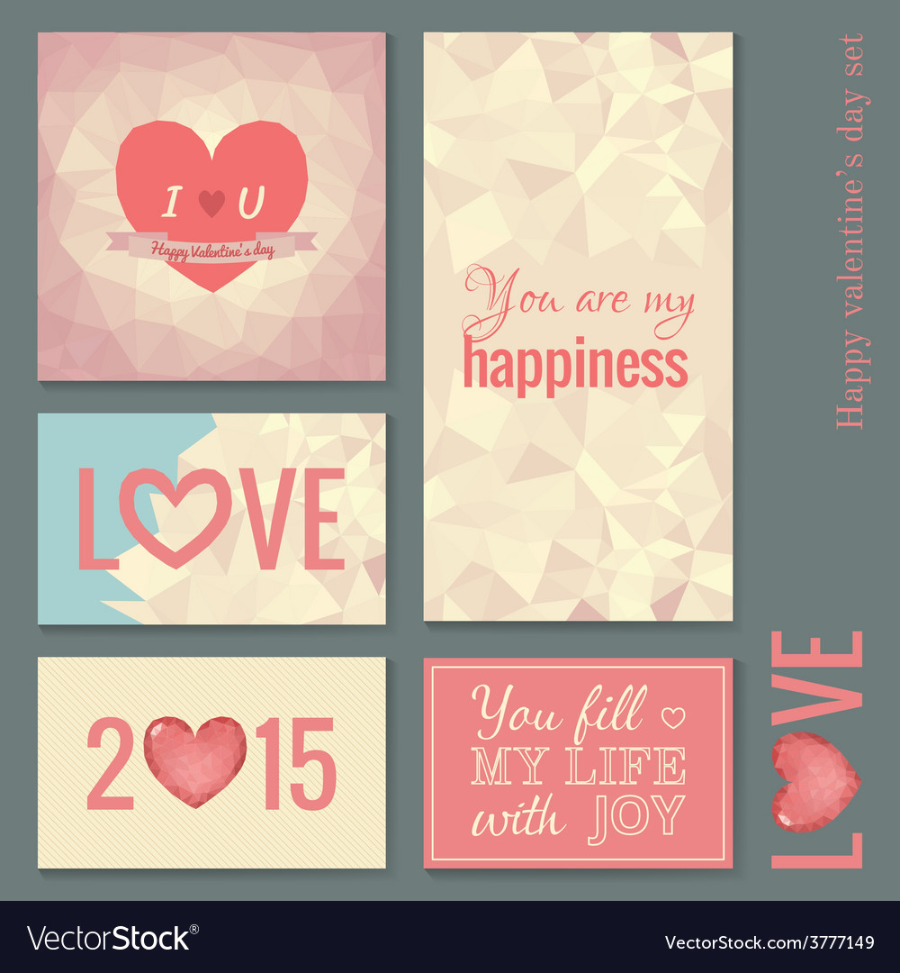 Set of cards templates for valentine day vector