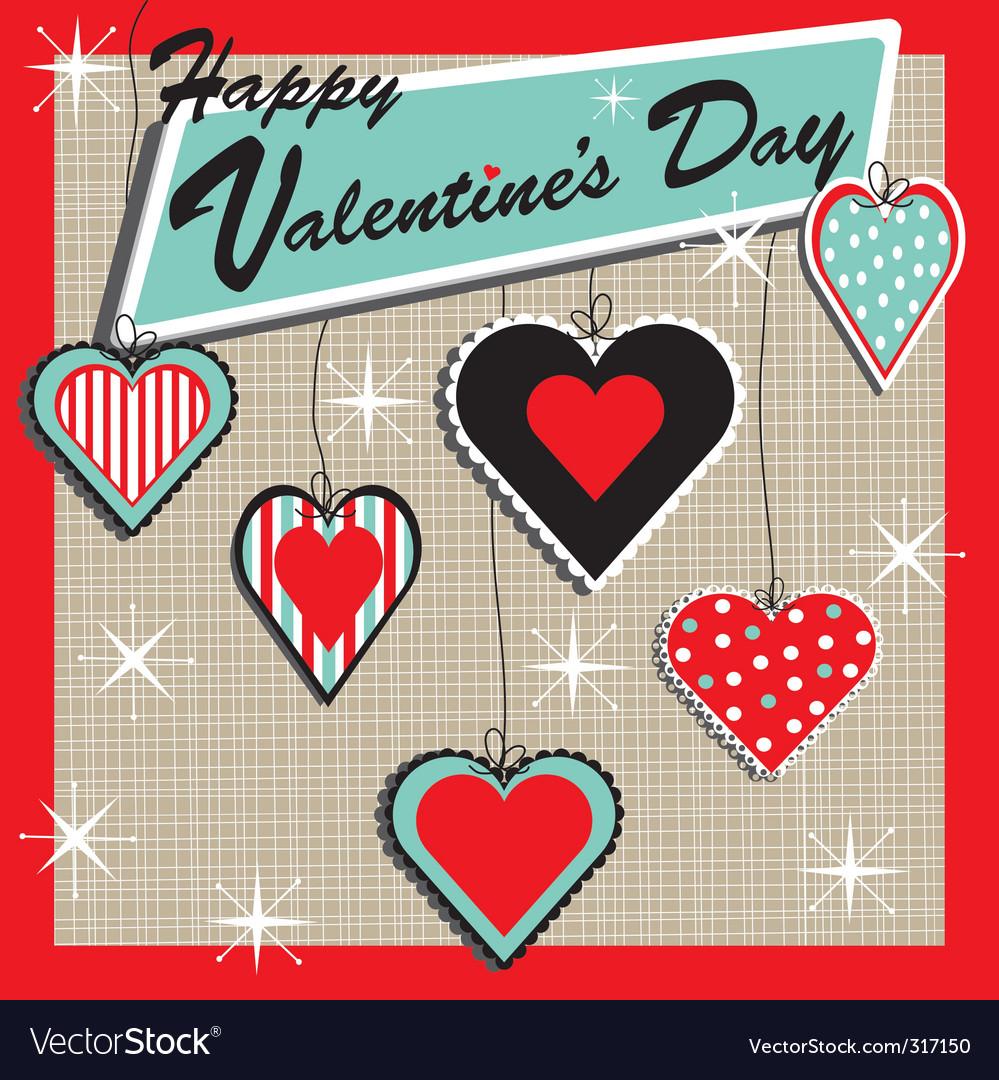 Retro valentine's heart ornament vector