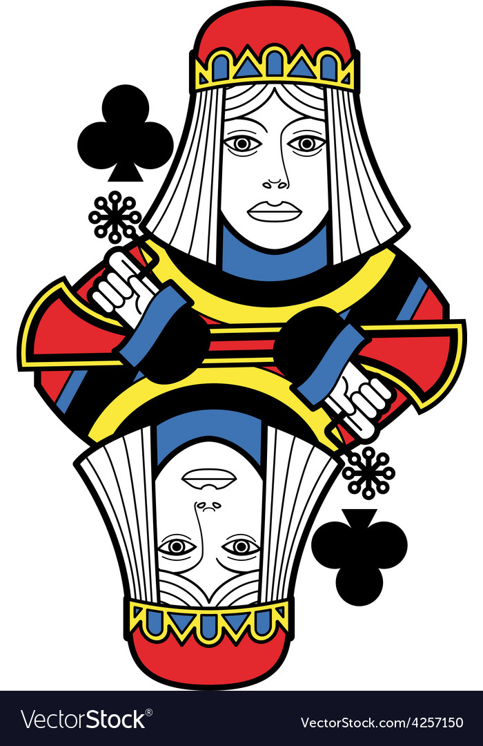 Stylized queen of clubs no card vector