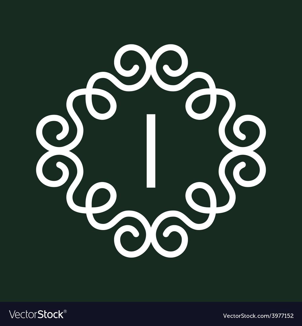 White vintage twirl frame for i letter vector