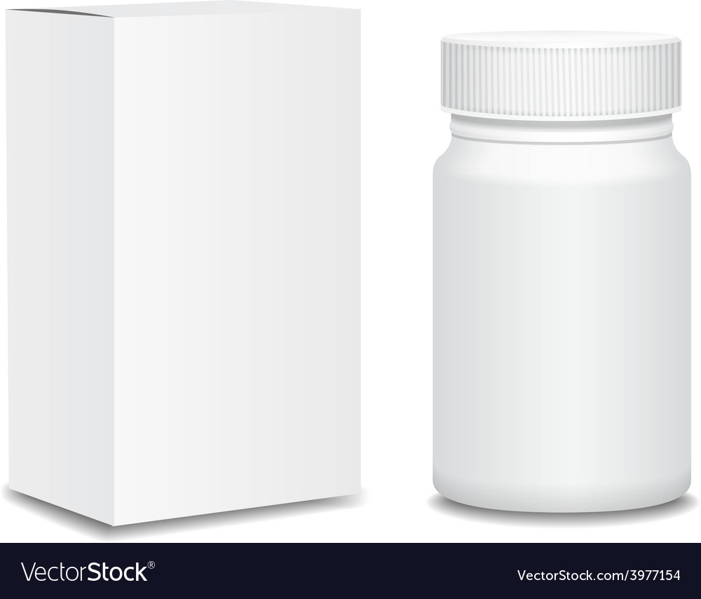 Blank medicine bottle and package isolated on vector