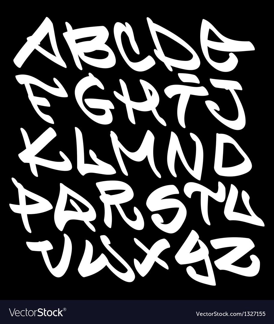 Graffiti font alphabet letters hip hop type vector
