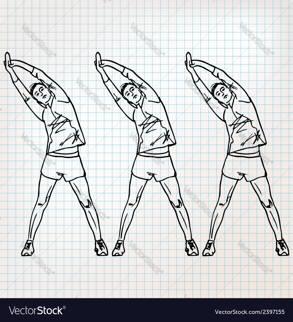 Stretching exercises sketch vector