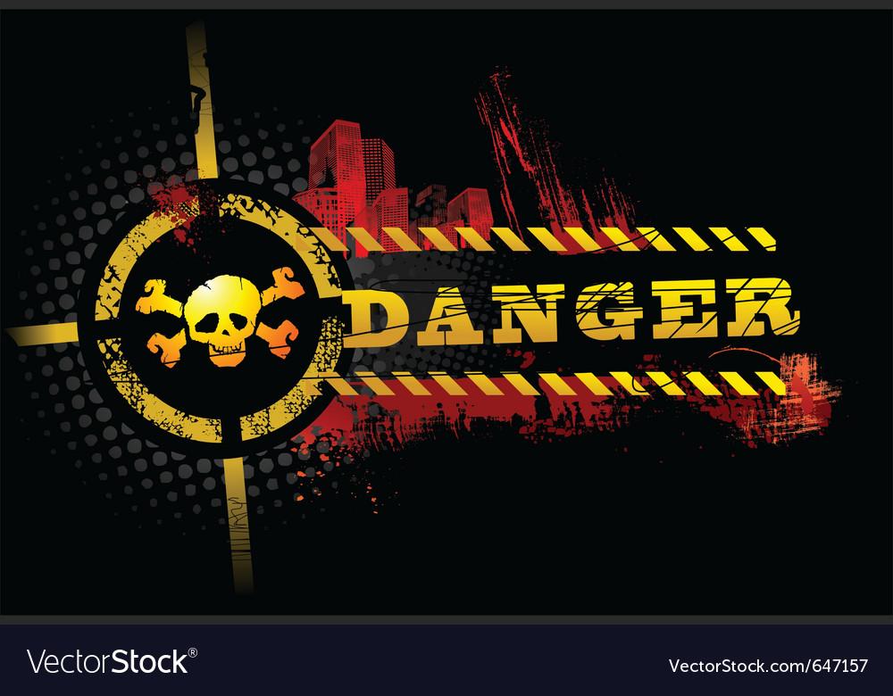 Black urban grunge danger skull detailed vector