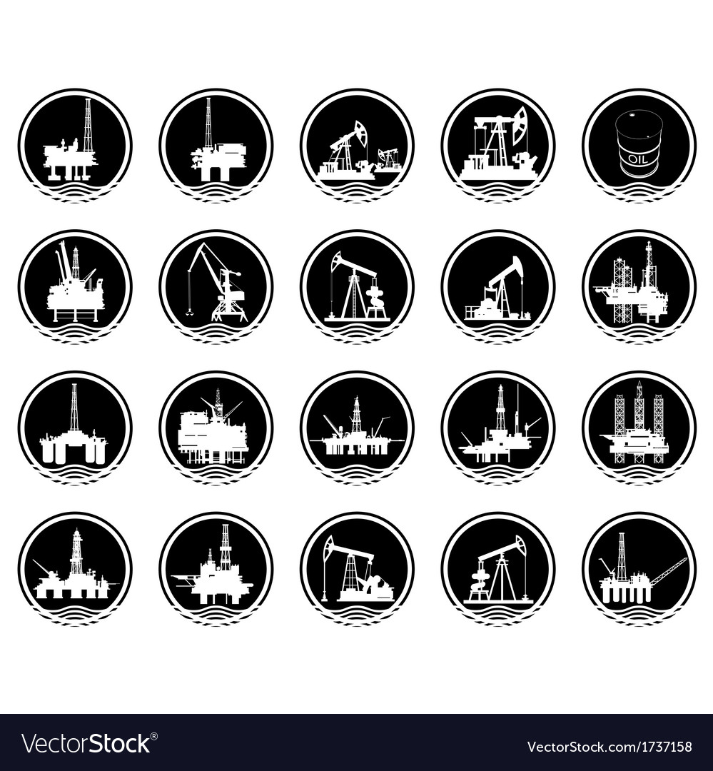 The icons of the oil industry vector