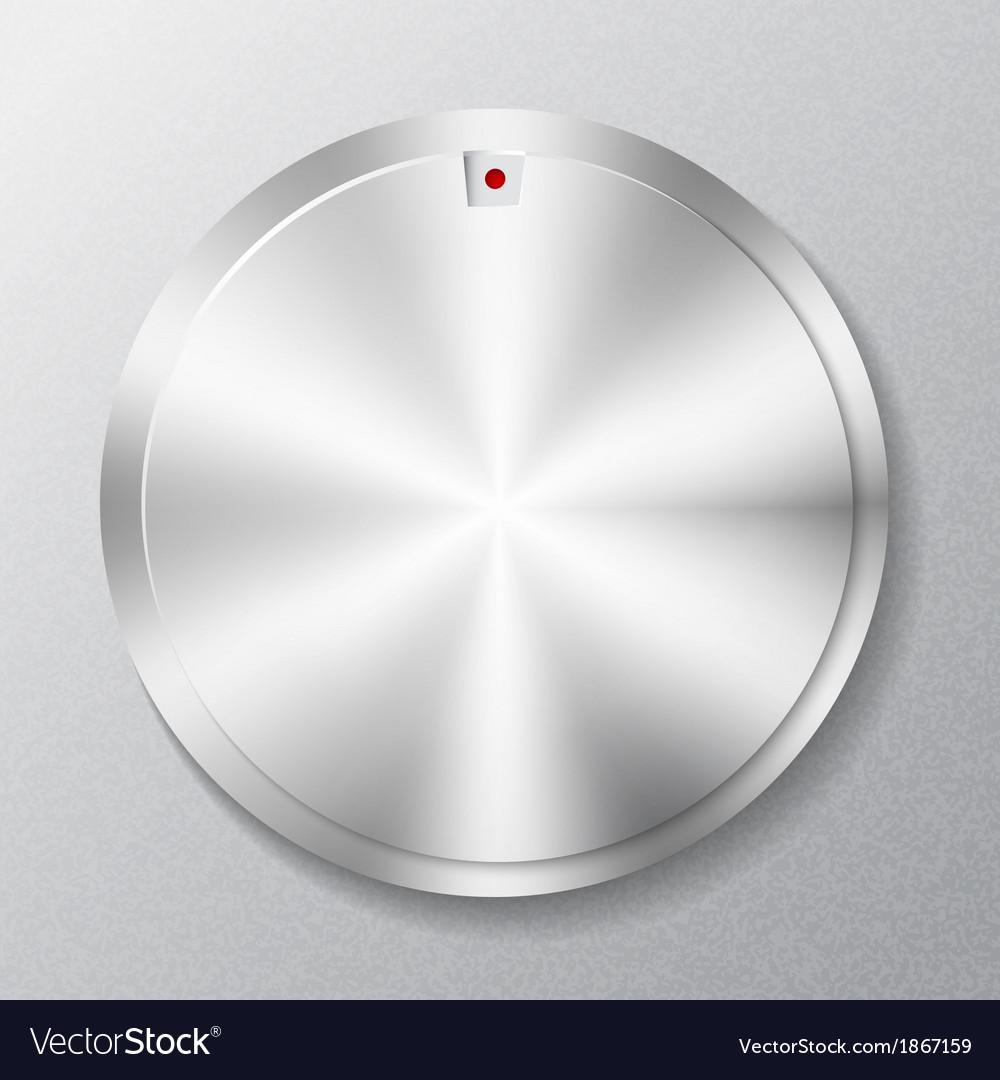 Metal round button multimedia vector