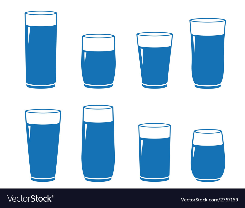 Set of isolated water glass vector