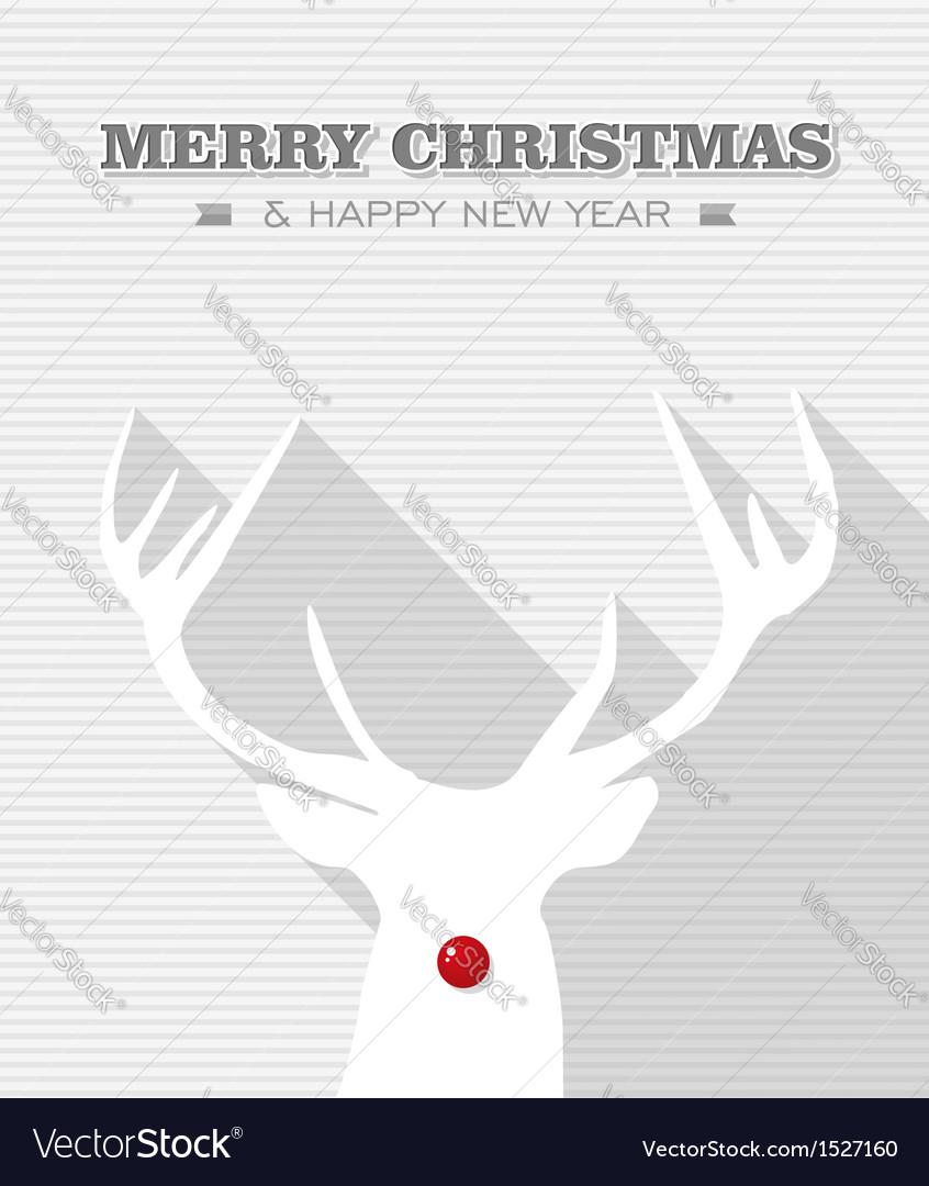 Merry christmas red dot white rudolph reindeer vector