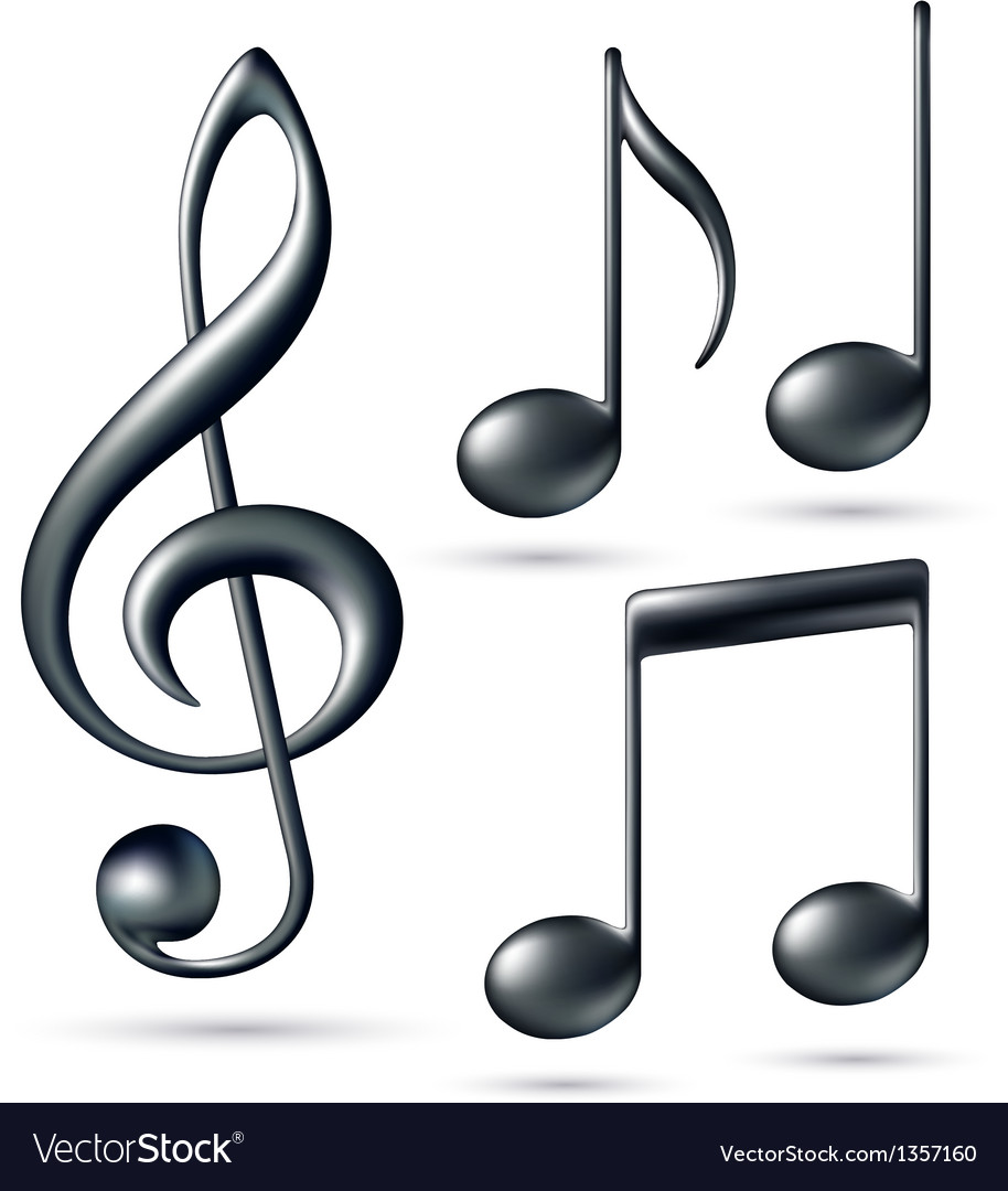 Treble clef with notes vector