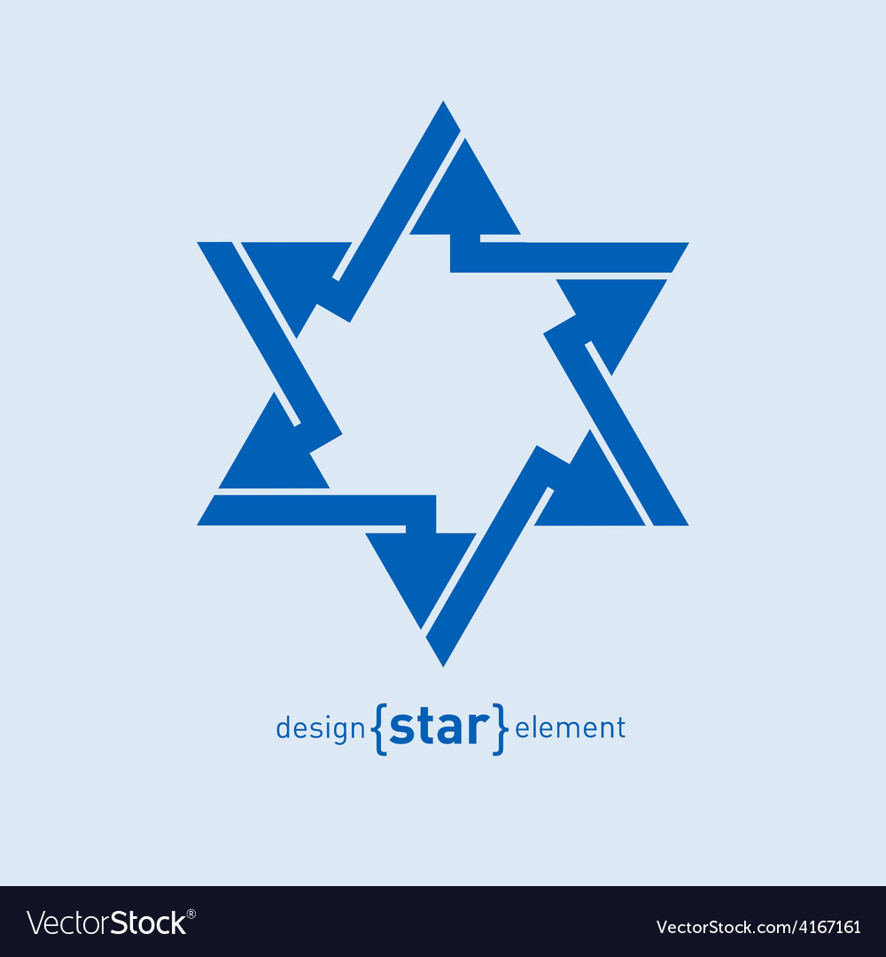 Abstract design element blue star vector
