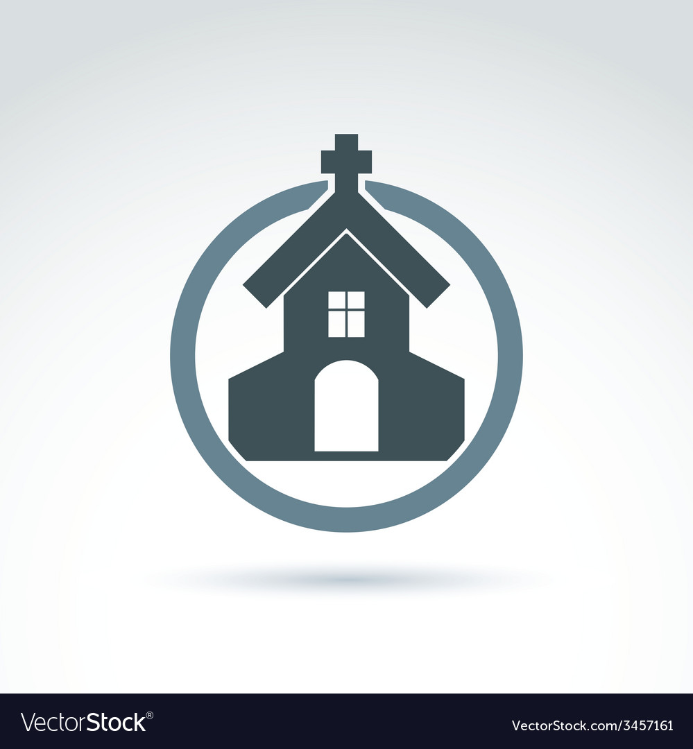 Christian church with a cross of a temple p vector