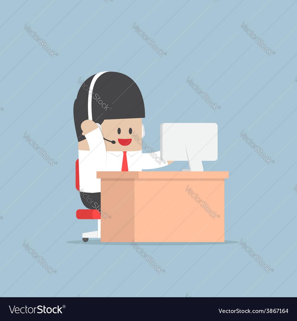 Businessman work as a call center with headphone a vector
