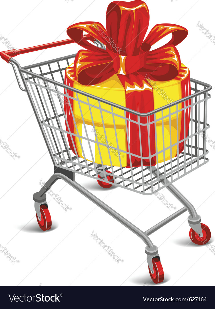 Shopping cart with a great gift vector