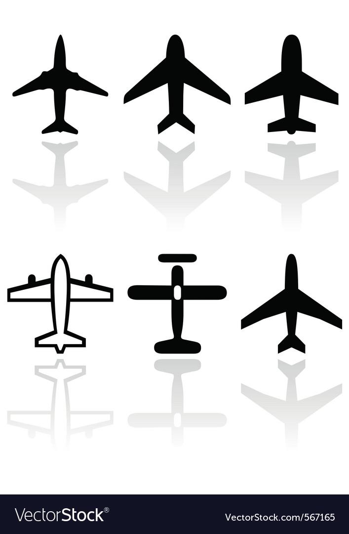 Airplane symbol set vector