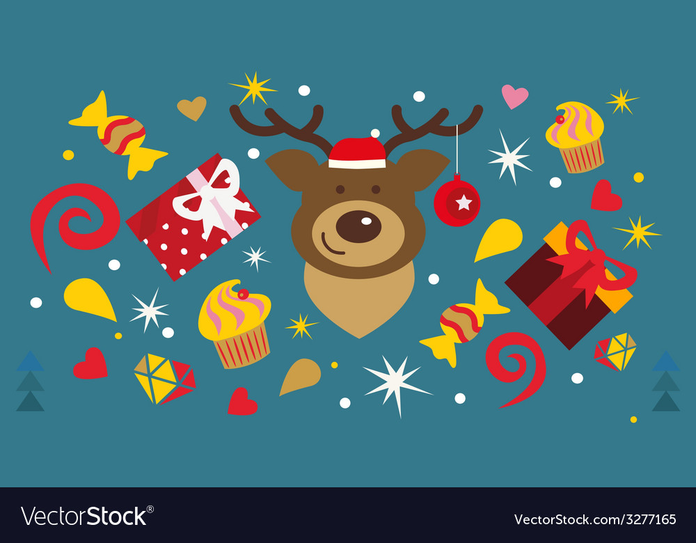 Christmas holiday design with deer muzzle vector
