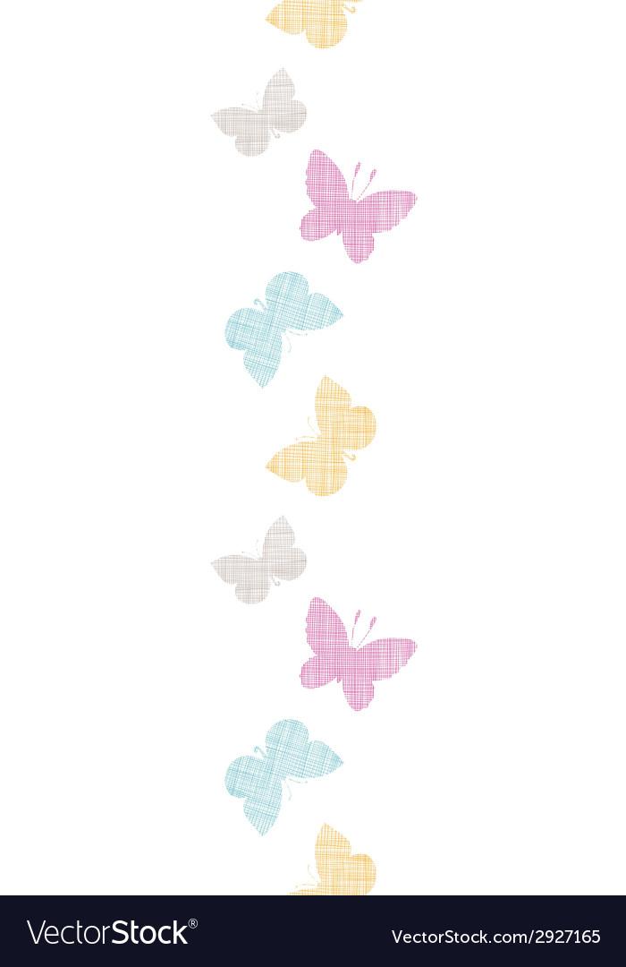 Textile textured colorful butterflies vertical vector