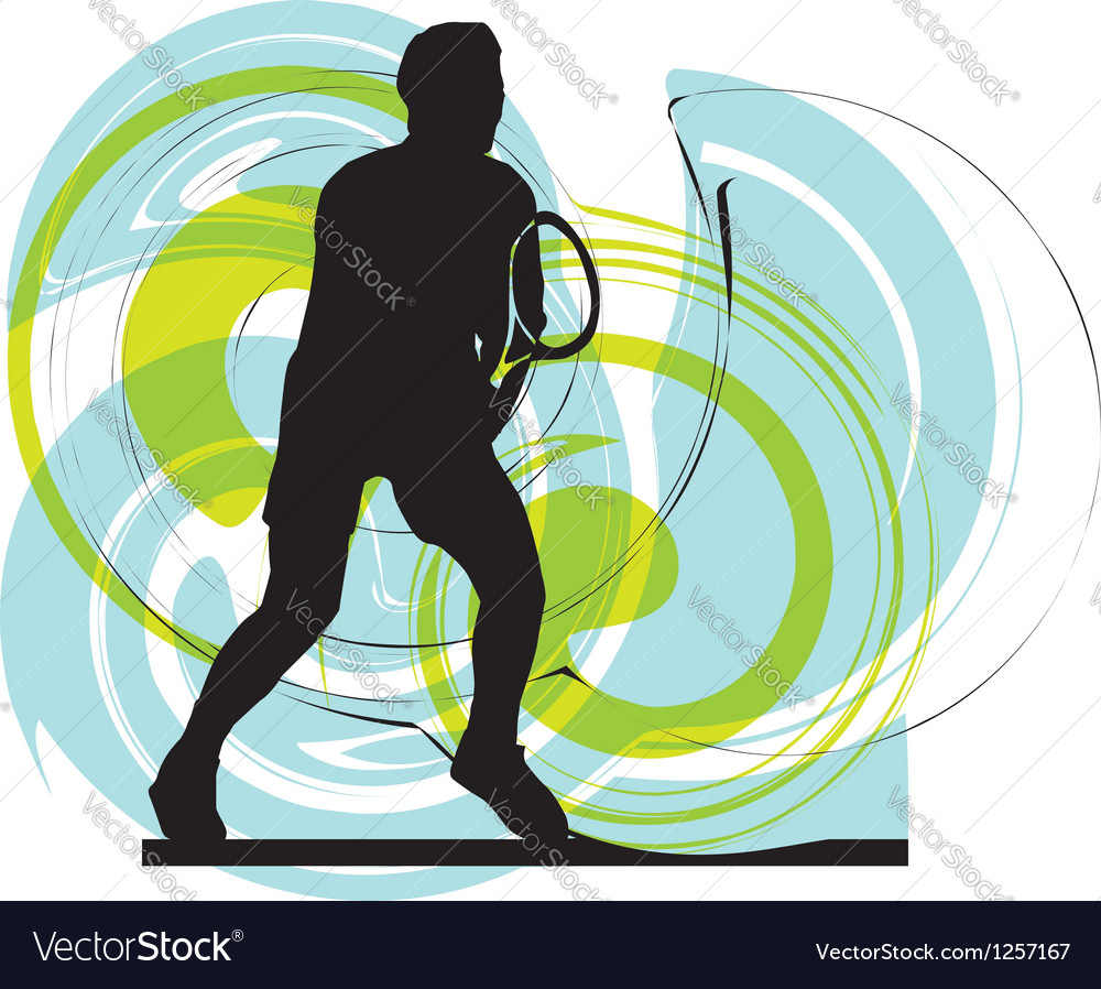 Drawing of man playing tennis vector