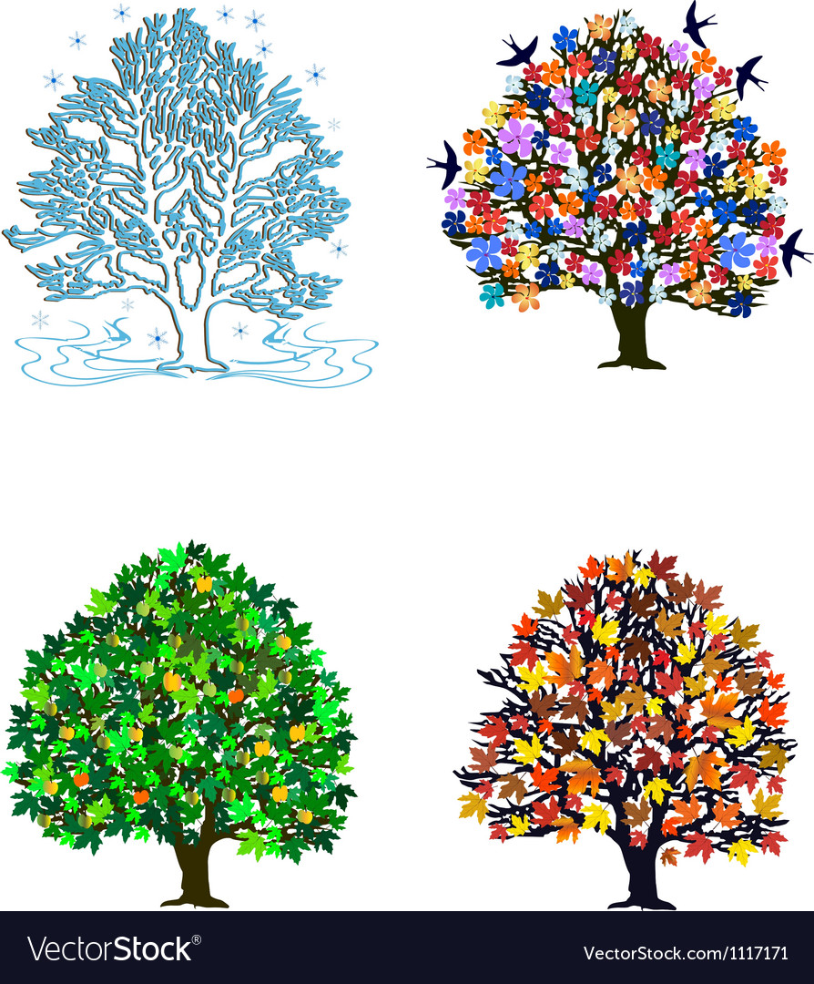 4 seasons over white vector