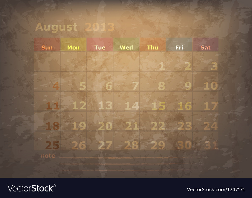 Antique calendar of august vector