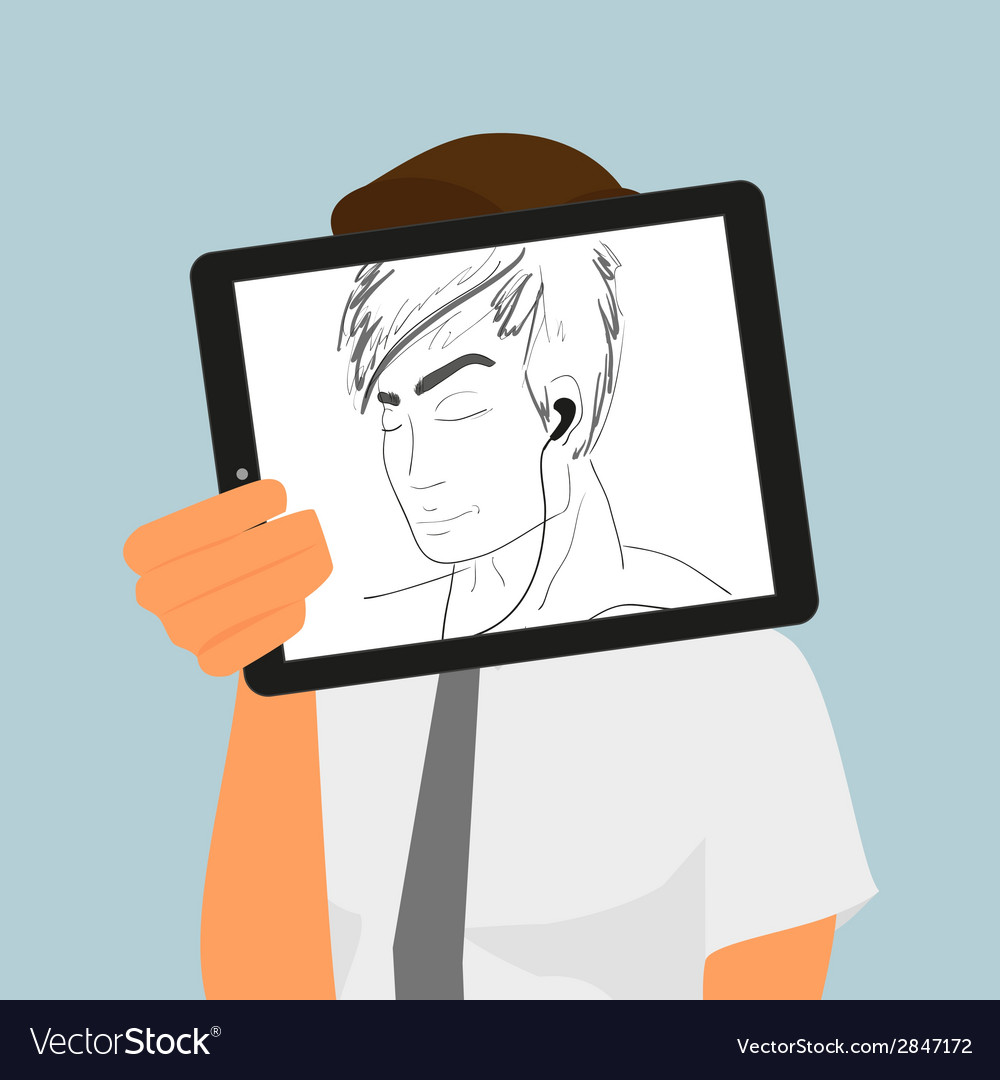 Guy holds tablet pc displaying hand drawing vector