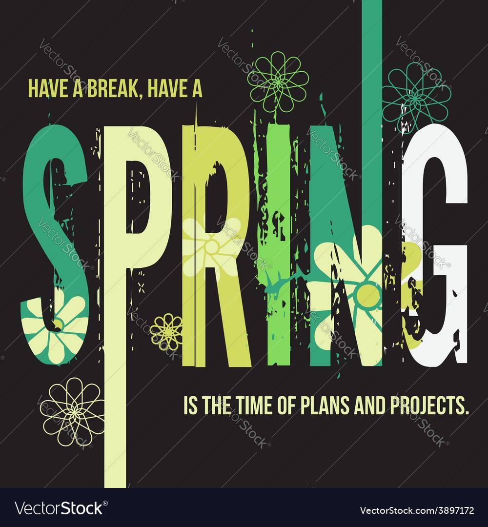 Spring typographic design poster vector