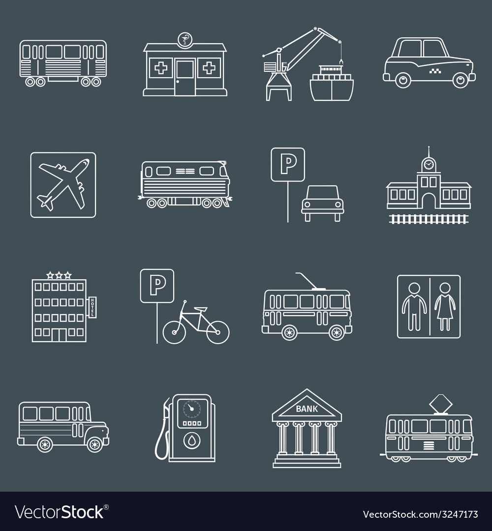 City infrastructure icons outline vector