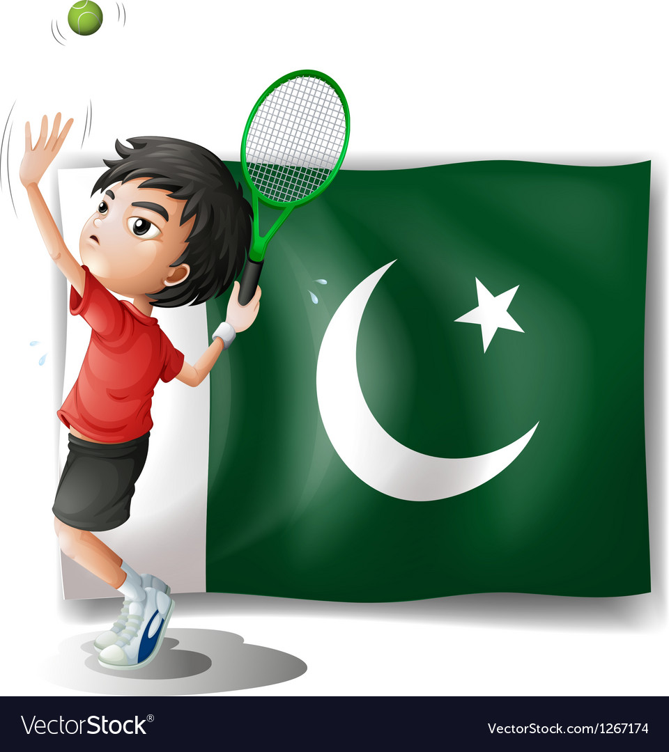 The pakistan flag and the tennis player vector