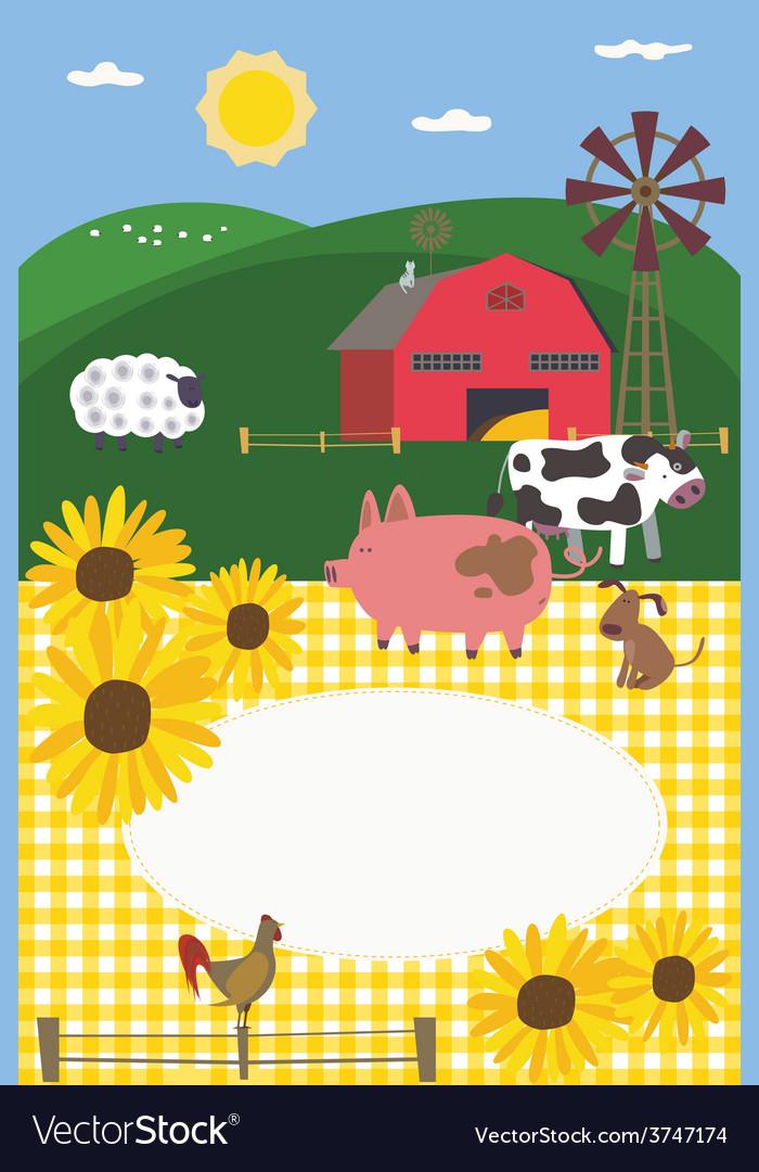 Rural style invitation design vector