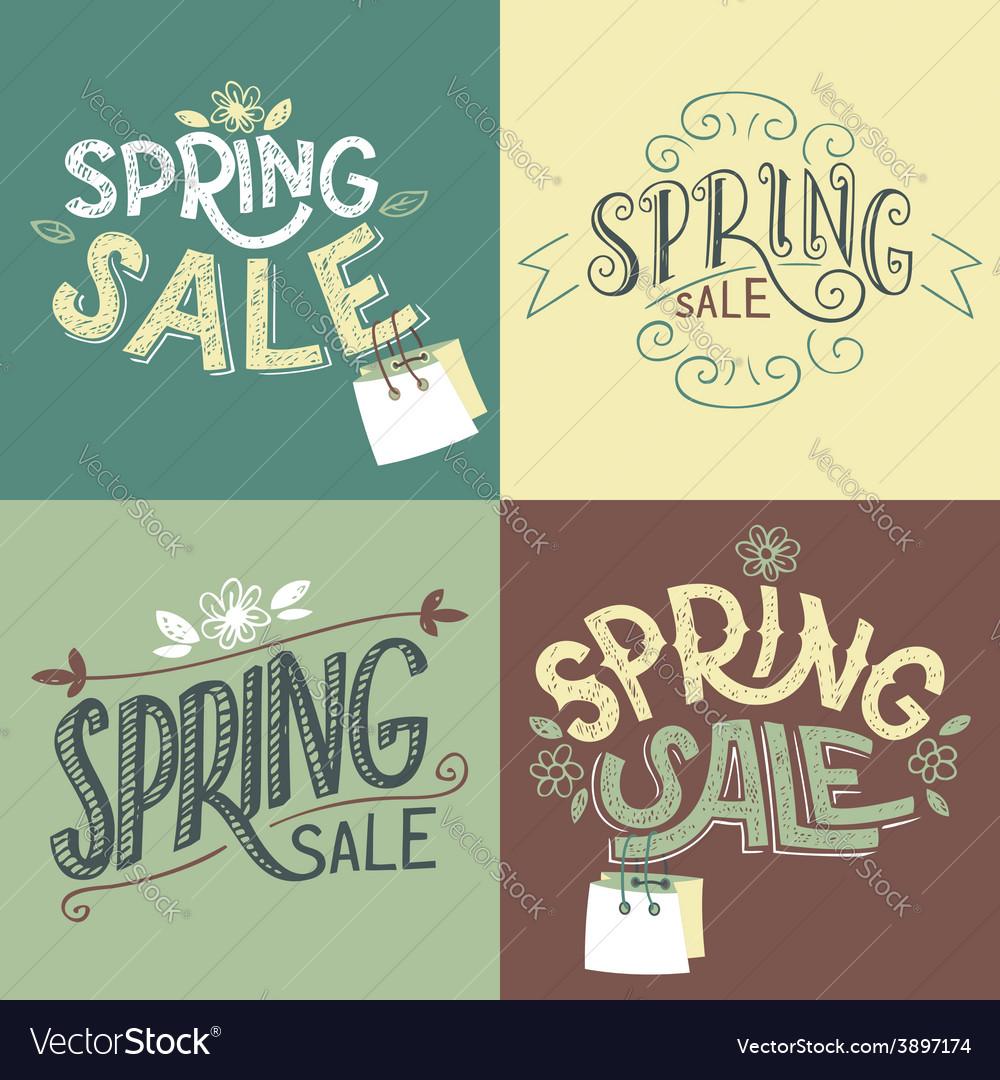 Spring sale labels set vector