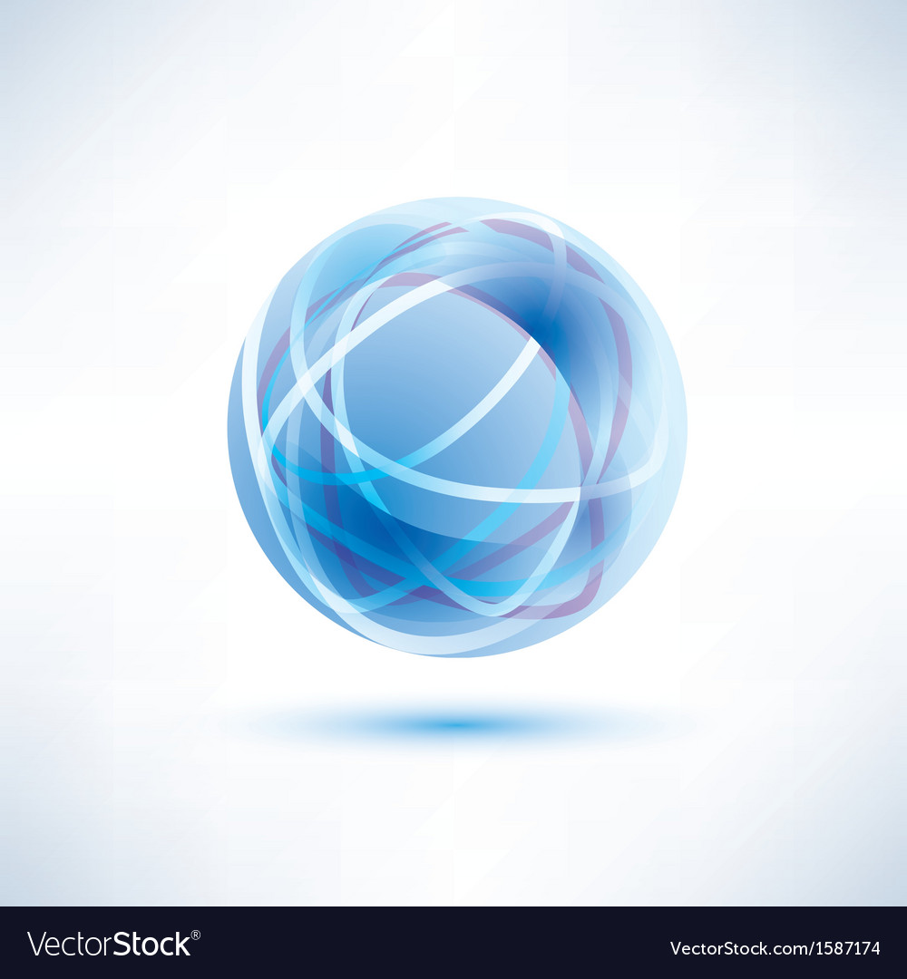 Water blue abstract globe icon vector