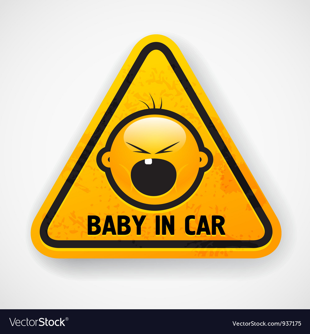 Baby in car sign vector
