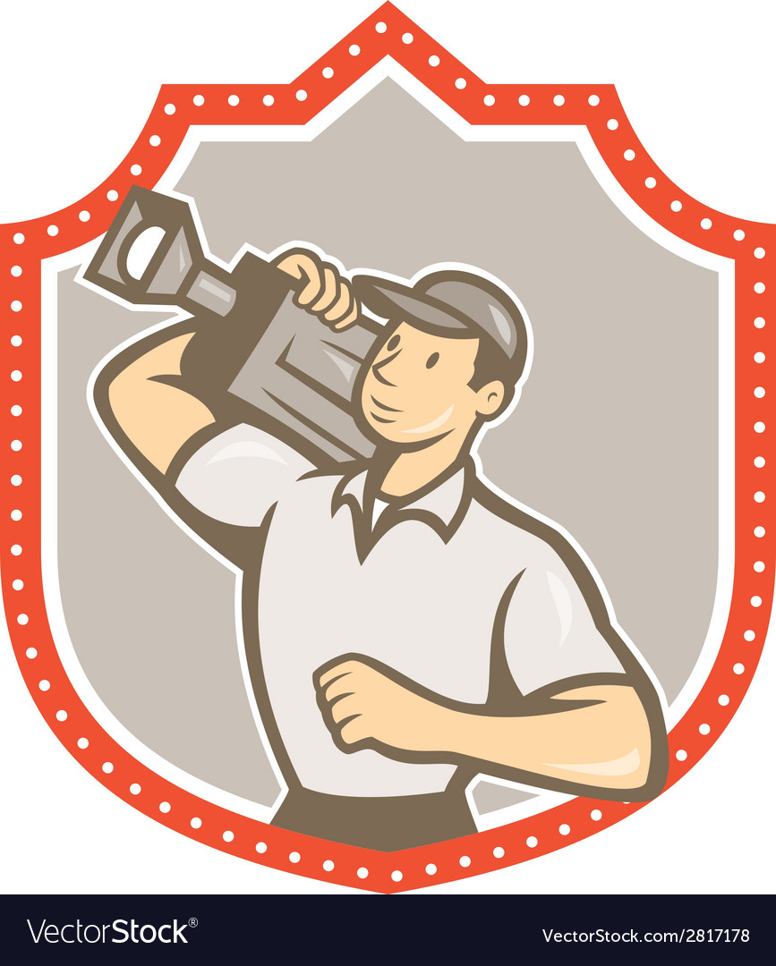 Cameraman vintage film movie camera shield vector