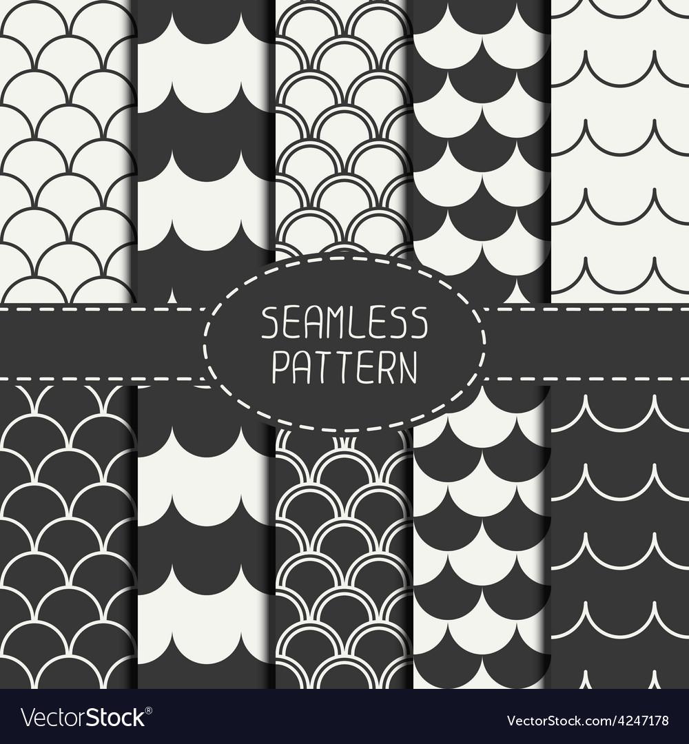 Set of seamless retro vintage marine geometric vector