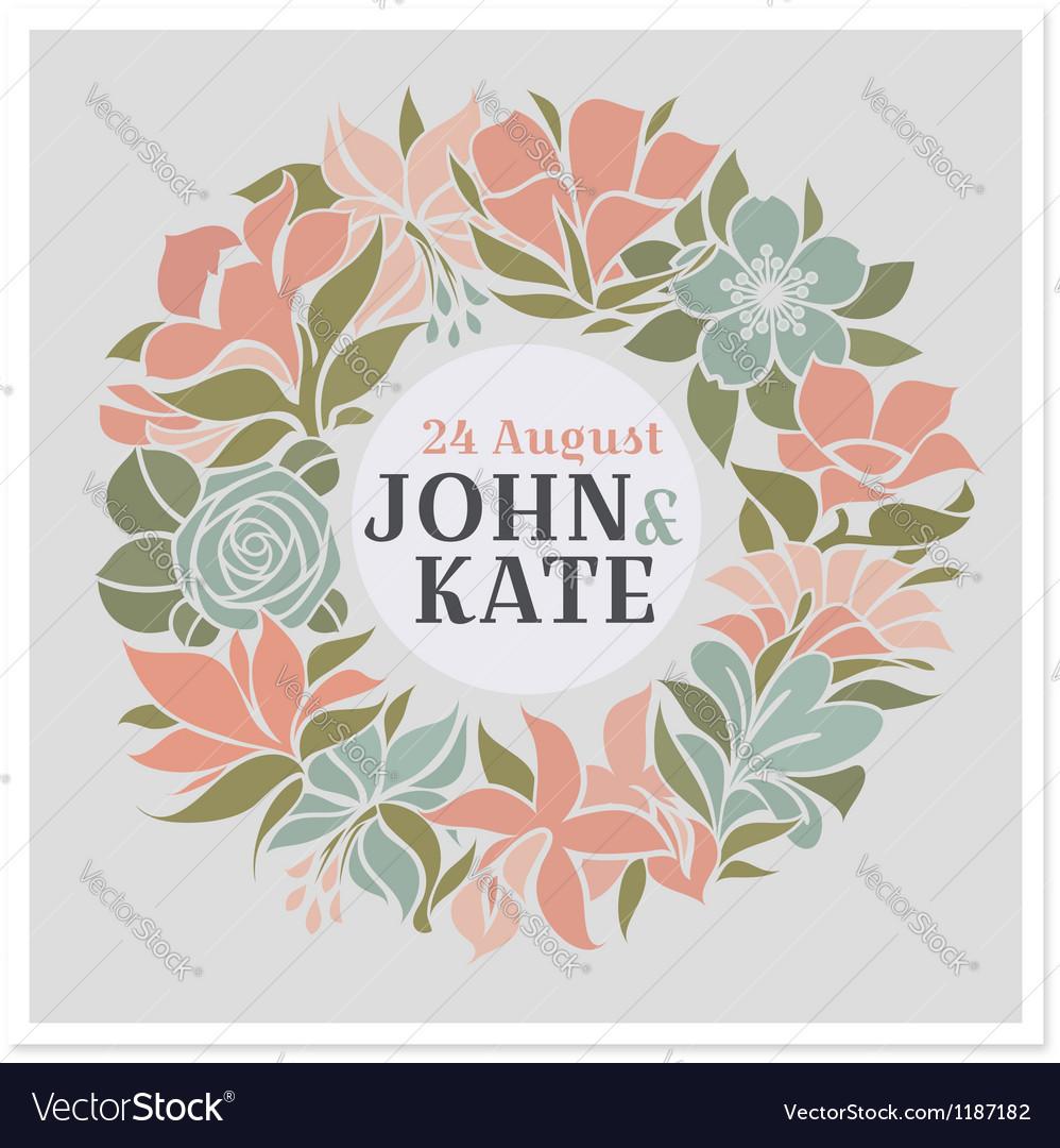 Floral wreath - wedding design vector