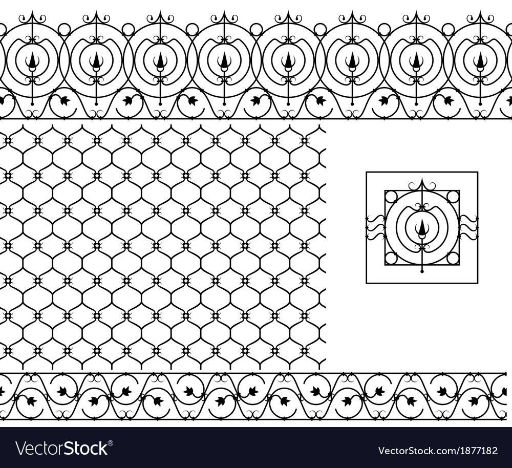 Seamless patterns set for wrought iron railing vector
