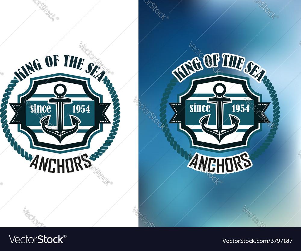 King of the sea anchors emblem vector