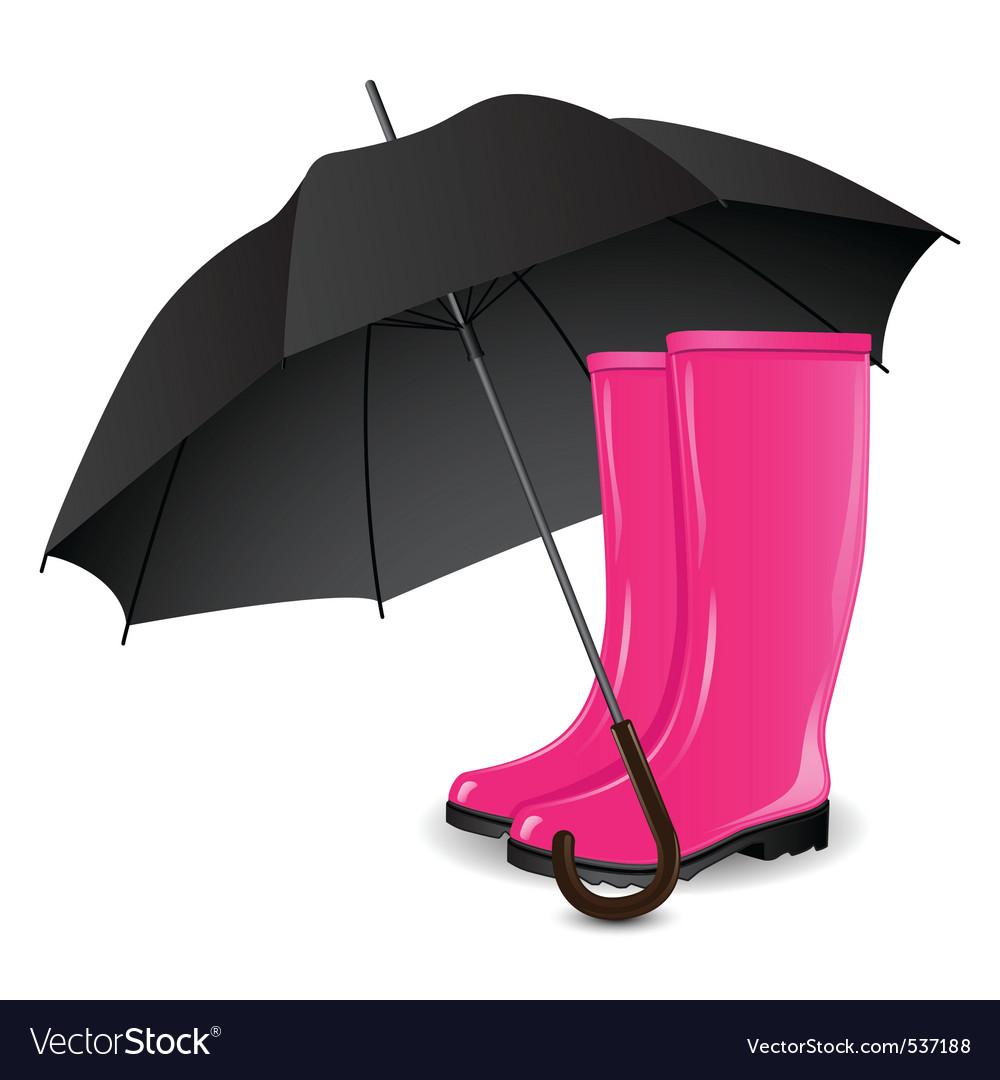 Rainboots and an umbrella vector